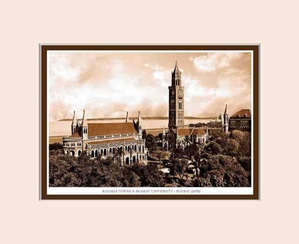 Old Vintage Bombay (Mumbai) Mounted Photo Frame of Rajabai Tower & Bombay University Fine Art Print