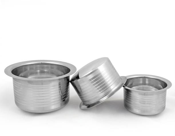 kitchen krafts flat bottom top set 3pcs set pot 1 l - Kitchen Krafts