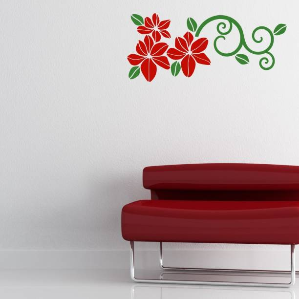 Nilaya by ASIAN PAINTS Large Wall Ons Red Floral Wall Sticker