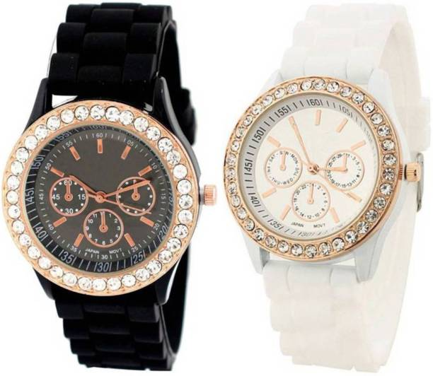 450969475 Frida analogue stylish designer watches for girls and women geneva blk and  white Watch - For