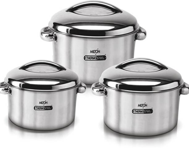 MILTON Excel Gift Set Stainless Steel Casseroles Pack of 3 Cook and Serve Casserole Set