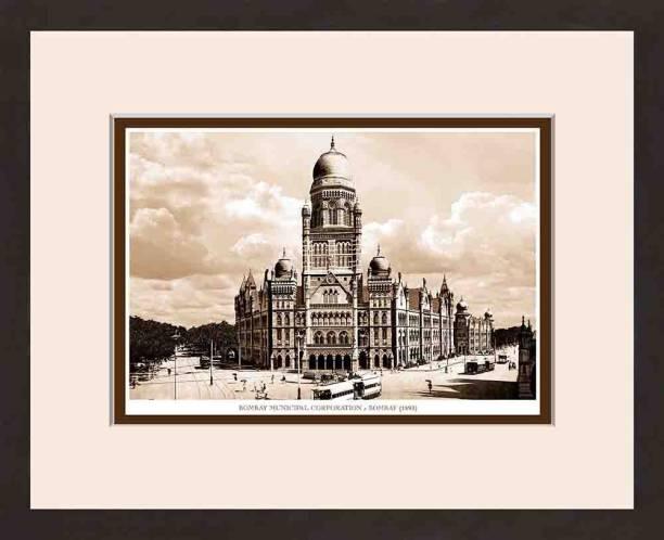 Old Vintage Bombay (Mumbai) Wooden Photo frame of Bombay Municipal Corporation Fine Art Print