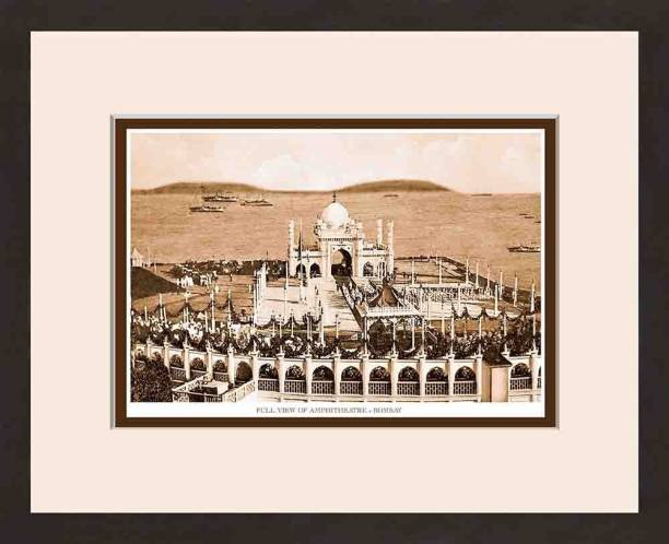 Old Vintage Bombay (Mumbai) Wooden Photo frame of Full View of Amphitheatre Fine Art Print