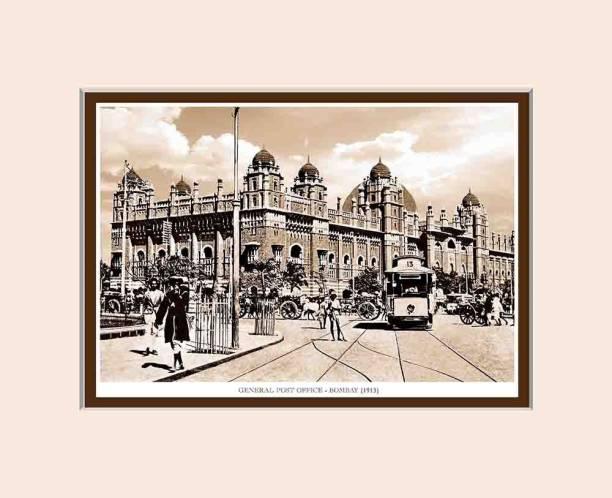 Old Vintage Bombay (Mumbai) Mounted Photo Frame of General Post Office Fine Art Print