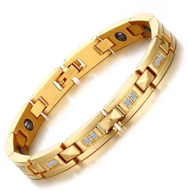 University Trendz Alloy, Metal Gold-plated, Titanium Charm Bracelet