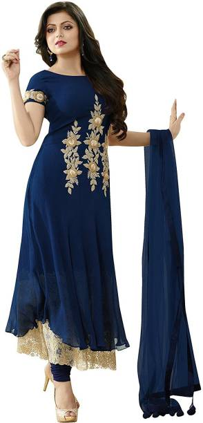 247b32a6829 Fabvilla Georgette Embroidered Semi-stitched Salwar Suit Dupatta Material