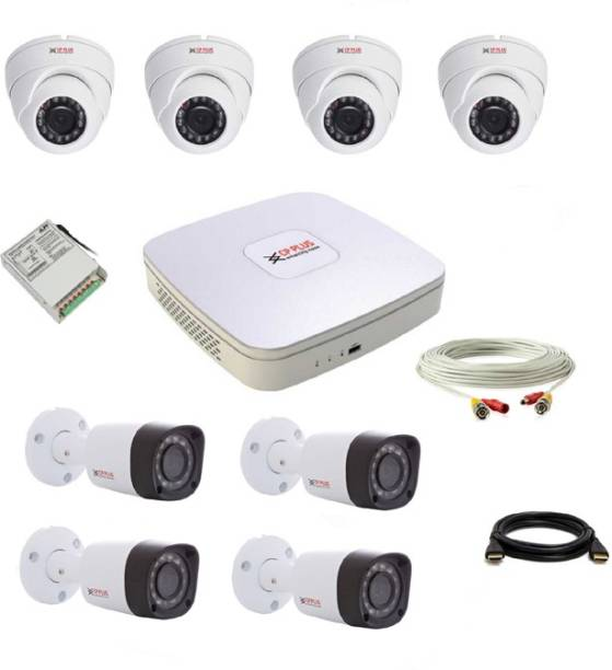 CP PLUS Set 4+4 Dome and Bullet CCTV Camera Full HD with DVR Night Vision and DVR with all accessories Security Camera