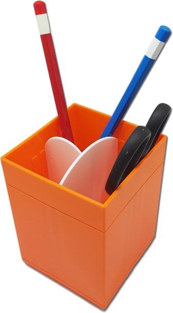Tuelip 3 Compartments Plastic Cube Shape Multi Purpose Pen Stand Orange