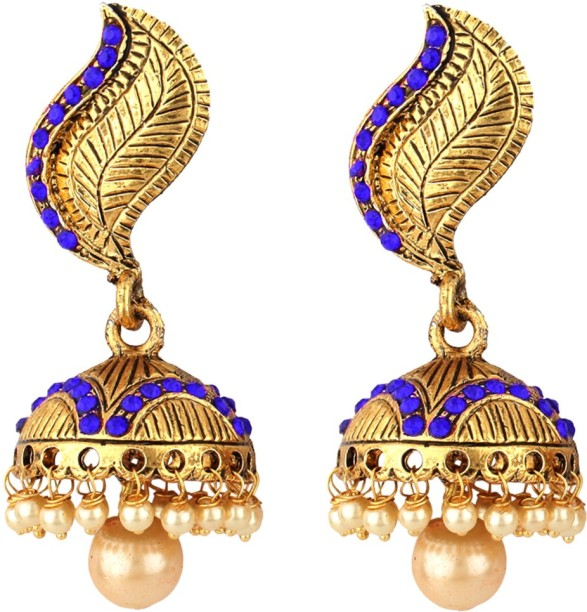 Subharpit Blue Color Golden Designer Traditional Indian Jhumka Jhumki Earrings for Women /& Girls