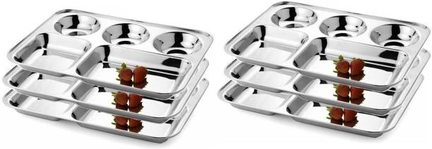 Premi Bartan Bhandar Stainless Steel Compartment Plate - 5 in 1   Set of 6 Pcs   Sectioned Plate