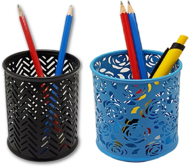 Tuelip 1 Compartments Mesh Pen Stand Round Shape Black Blue Color Multi  Purpose Pen Stand