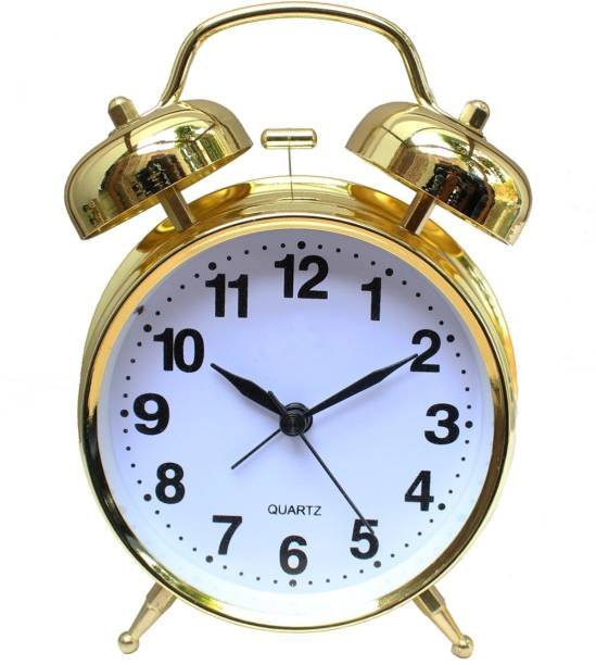 ONEKLIK Analog Gold Twin Bell Alarm Clock Clock
