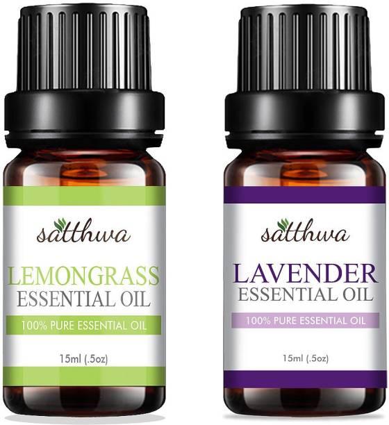 Satthwa Lemongrass Oil & Lavender Essential Oil Combo