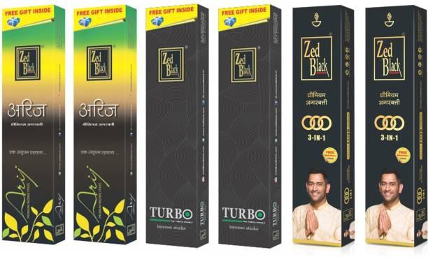 Zed Black 3 in 1 Large (2 packs) , Arij Large (2 packs) , Turbo Large (2 packs) - Combo of 6 Premium
