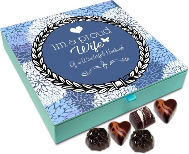 Chocholik Gift Box - I Am A proud Wife Of A Wonderful Husband Chocolate Box - 9pc Truffles