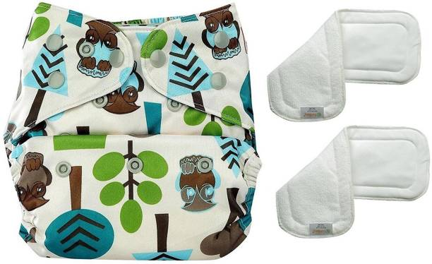 bumberry Adjustable Tree Print Reusable Cloth Diaper Cover With 2 Wet Free Inserts For Babies (3-36 Months)