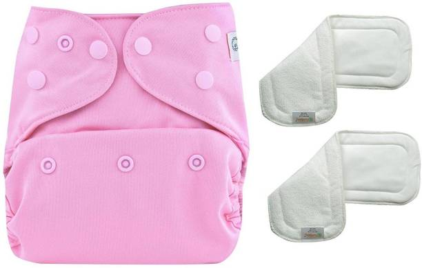 bumberry Adjustable Pink Reusable Cloth Diaper Cover With 2 Wet Free Inserts For Babies (3-36 Months)