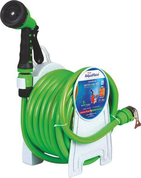 AquaHose Household Water Hose Reel Green 7.5mtr (12.5mm ID) Hose Pipe 0 ml Wheel Tire Cleaner