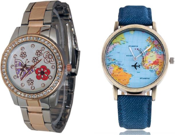 Sooms watches buy sooms watches online at best prices in india sooms world map men watch and two tone styles strap having printed dial ladies diamond studded gumiabroncs Images