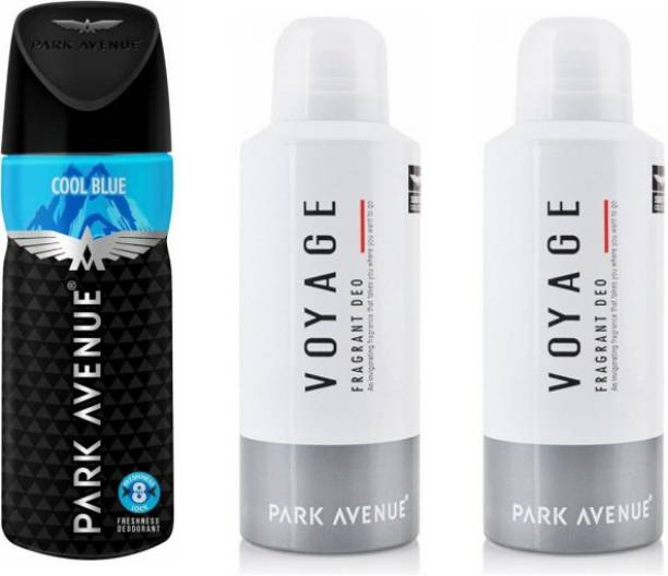 PARK AVENUE 1 Cool Blue and 2 Voyage Deodorant Combo Pack of 3 Deodorant Spray  -  For Men