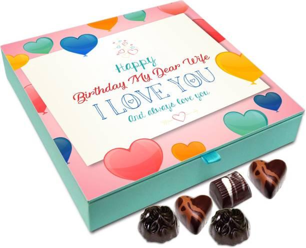 Chocholik Gift Box - Happy Birthday My Dear Wife Chocolate Box - 9pc Truffles