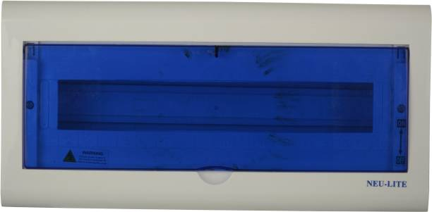 Neu-Lite White line Arrival Best Selling Premium Quality Plastic MCB BOX Wall Plate (White and Blue, NL005) Wall Plate