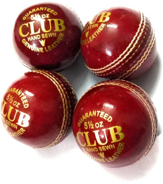 CLUB Set Of 4 Leather Balls 2 Part Cricket Leather Ball