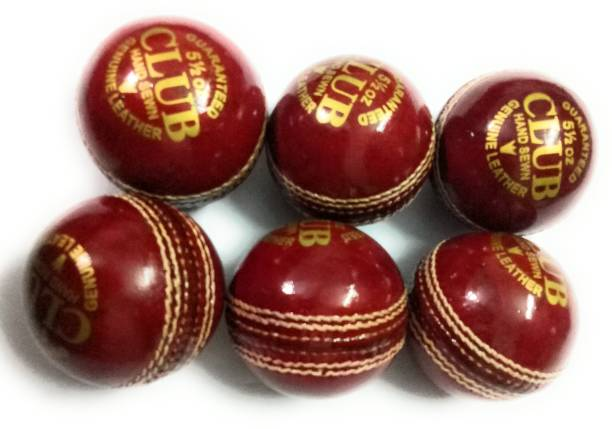 CLUB Forever Set Of 6 Genuine Leather Balls 2 Part ( Piece ) Cricket Leather Ball