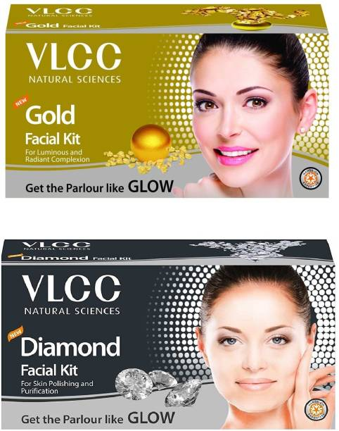 VLCC Gold Facial Kit (60Gm) + Diamond Facial Kit (50Gm) Combo,