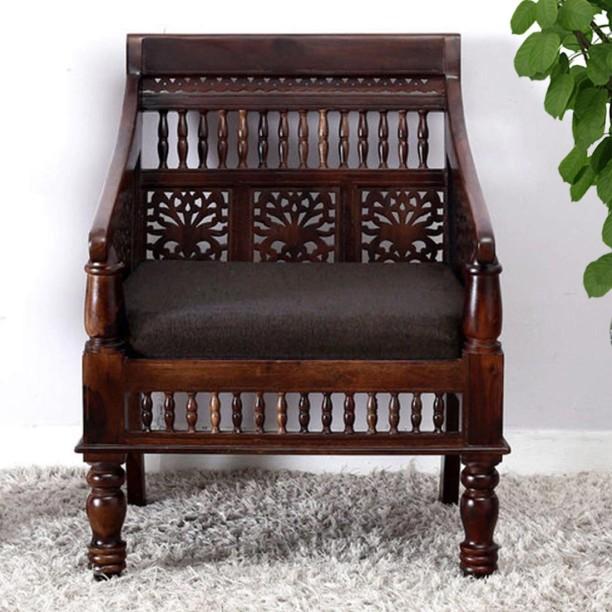 Vintej Home Ambrosa Sheesham Fabric 1 Seater Sofa