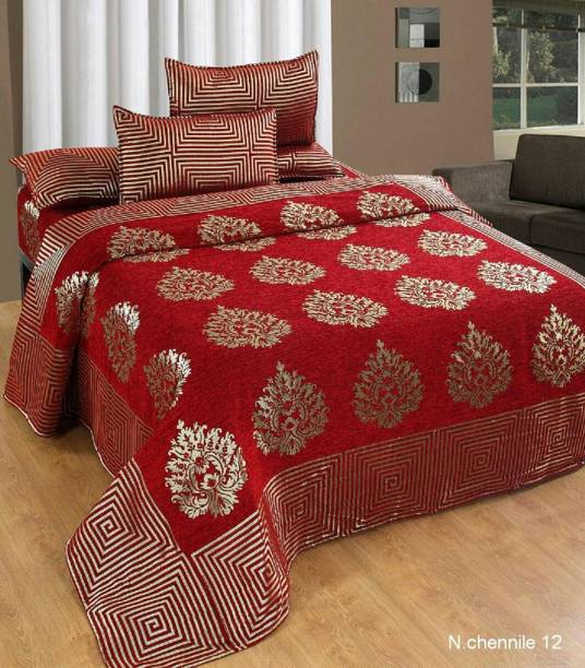 BhaiJi BedSheets 500 TC Velvet Double Abstract Bedsheet