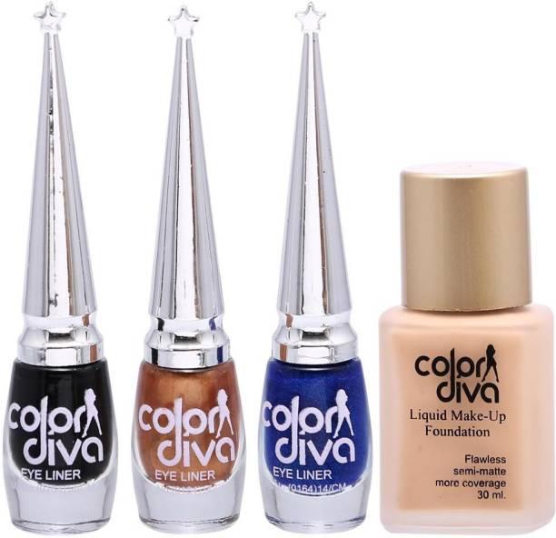 Color Diva 1 Forsted Foundation & Black, Blue, Golden Eyeliner