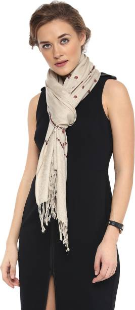 22745a23cf Pashtush Embroidered Finest Micron Natural Lamb Wool Women Scarf, Stole