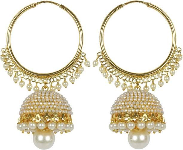 Meenaz Fashion Jewellery Traditional Gold plated Chandbali Pearl Jhumka  Jhumki Earrings for Girls women Combo partywear de842341887a