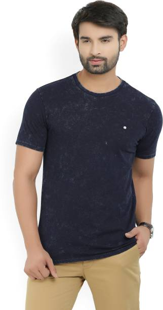 United Colors of Benetton Solid Men's Round Neck Blue T-Shirt