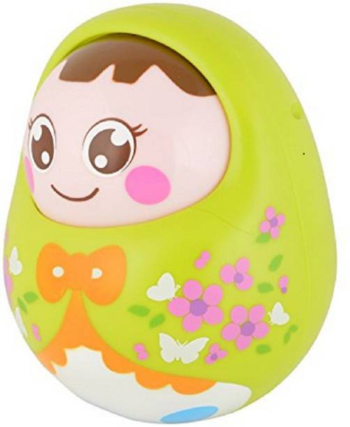Tiny Mynee Cartoon Tumbler Doll Roly-poly for babies with Sound&Nodding head-Green Rattle