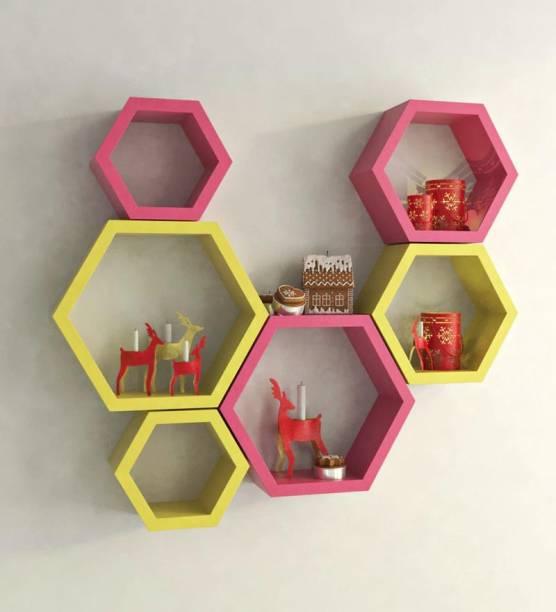 4fd5cab7049c Gorevizon Pink   Yellow MDF Modern Wall Shelf - Set of 6 MDF Wall Shelf