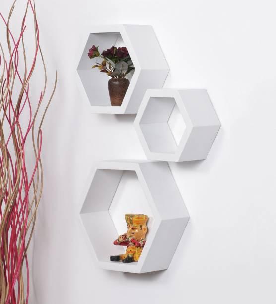 cd44add279f Gorevizon White MDF Hexagon Shape Wall Shelf - Set of 3 MDF Wall Shelf