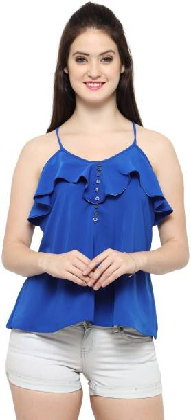 Smarty Pants Casual Sleeveless Solid Women Blue Top