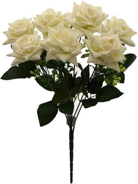 FOURWALLS s Artificial Velvet Rose Bouquet Wedding Bouquet for Home Garden Party Wedding Decoration(White, 40 cm tall, 7 Flower) Multicolor Rose Artificial Flower