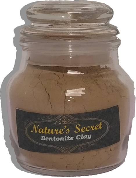 Nature's Secret Bentonite Clay Powder (100 Grm) Organic. Use for Clay Mask Detox Etc. Healing Detoxifying Useful on Oily Skin. Cosmetic-grade. Face & Body Detox. -In Glass Jar packing
