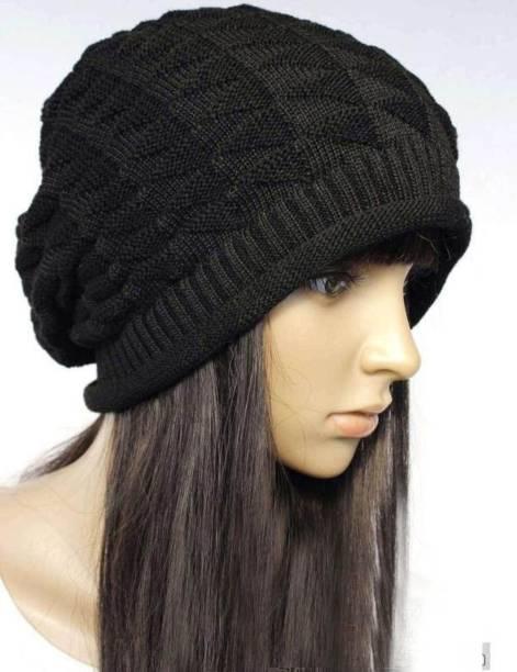 HOZIE Black Slouchy woolen Long Beanie Cap for Winter skull head Unisex Cap fe6c86c8e12b