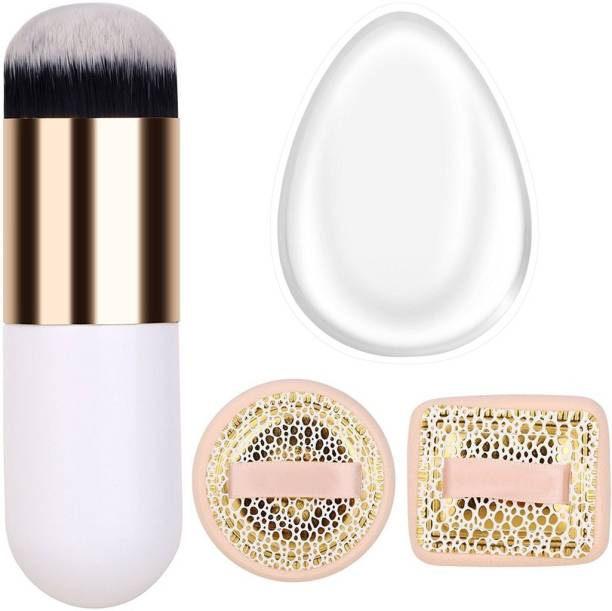 ELV Premium Makeup Kit with Silicone Makeup Sponge, Blush-On Puff and Dome Shaped Makeup Brush with Synthetic Bristles