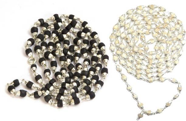 ellegent 2 tulsi mala silver cap beads wood chain