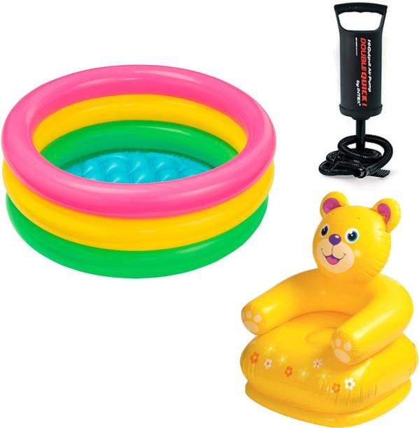 INTEX ® Original Inflatable 3ft Water Tub Kids SwimmingPool With Kids Teddy Chair & Hand Pump Inflatable Swimming Pool
