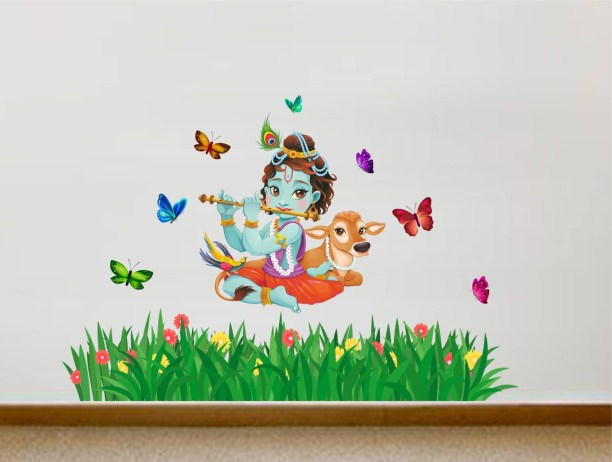 Rawpockets Lord Krishna Flute Singing With Cow And Butterfly Grass  Decorative