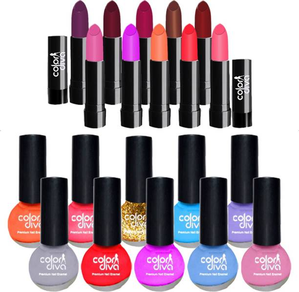 Color Diva Corrola 10 Lipstick & 10 Nail Paint Bonzoi