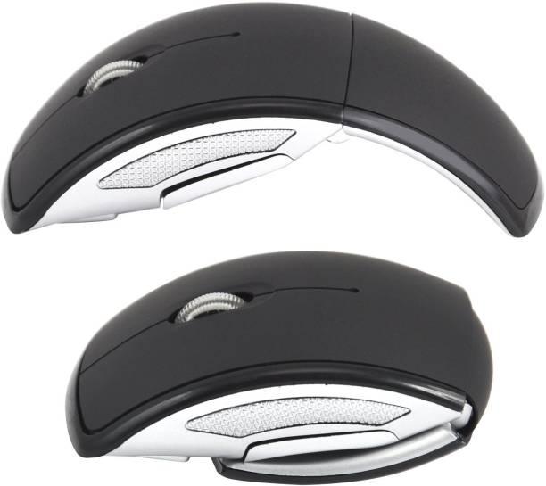 LipiWorld Foldable Wireless Mouse Foldable Folding Arc Optical Mice for All Laptop/Notebook/PC (Black) Wireless Optical Mouse