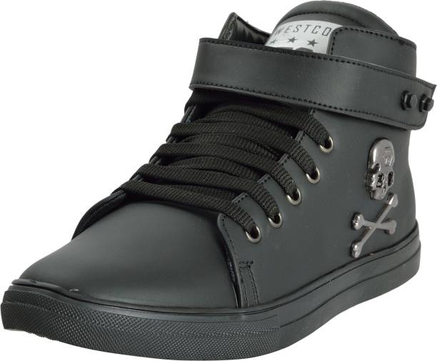 West Code Westcode Mens Synthetic Leather High Top Casual Shoes And Sneakers 441 Black