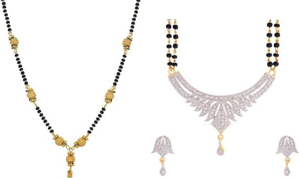 1de08513dd Zeneme Combo of 2 Gold Plated Mangalsutra Necklace for Women Alloy  Mangalsutra